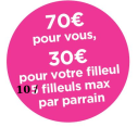 Offre de parrainage BBOX Fibre : 70€ parrain, 30€ filleul